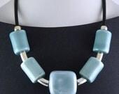 Blue Oversized Porcelain Statement Necklace. Bold design.