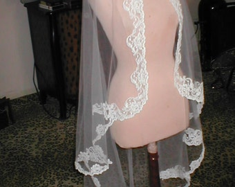 Vintage waltz-length Alencon Lace Mantilla Bridal Veil by Pricilla of Boston