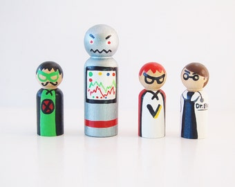 Super Villains - Wooden Super Hero Dolls Bad Guy Set - Peg Dolls - Bad Guys - Zooble