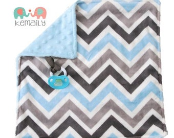 Blue Grey Multi Chevron Double Minky Binky Blanket