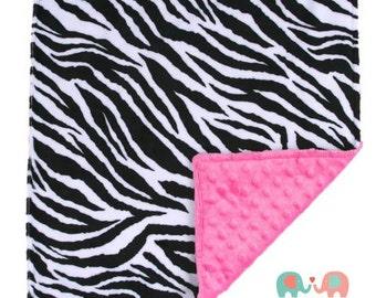 Hot Pink & Black Zebra Double Minky Baby Lovey Blanket 17x17 - Animal Print - Baby Shower - Gift - Girls - Nursery - Theme - Crib - Bedding