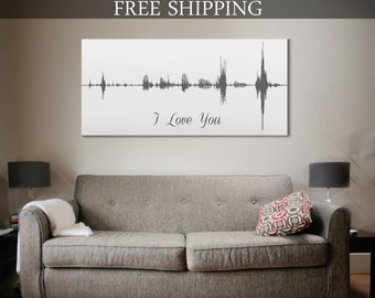 Voice Art, A Personalized Voice Message Print On Canvas 12x24