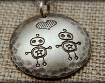 Robot love necklace,  Robot necklace, Geek necklace, Adorkable robot necklace