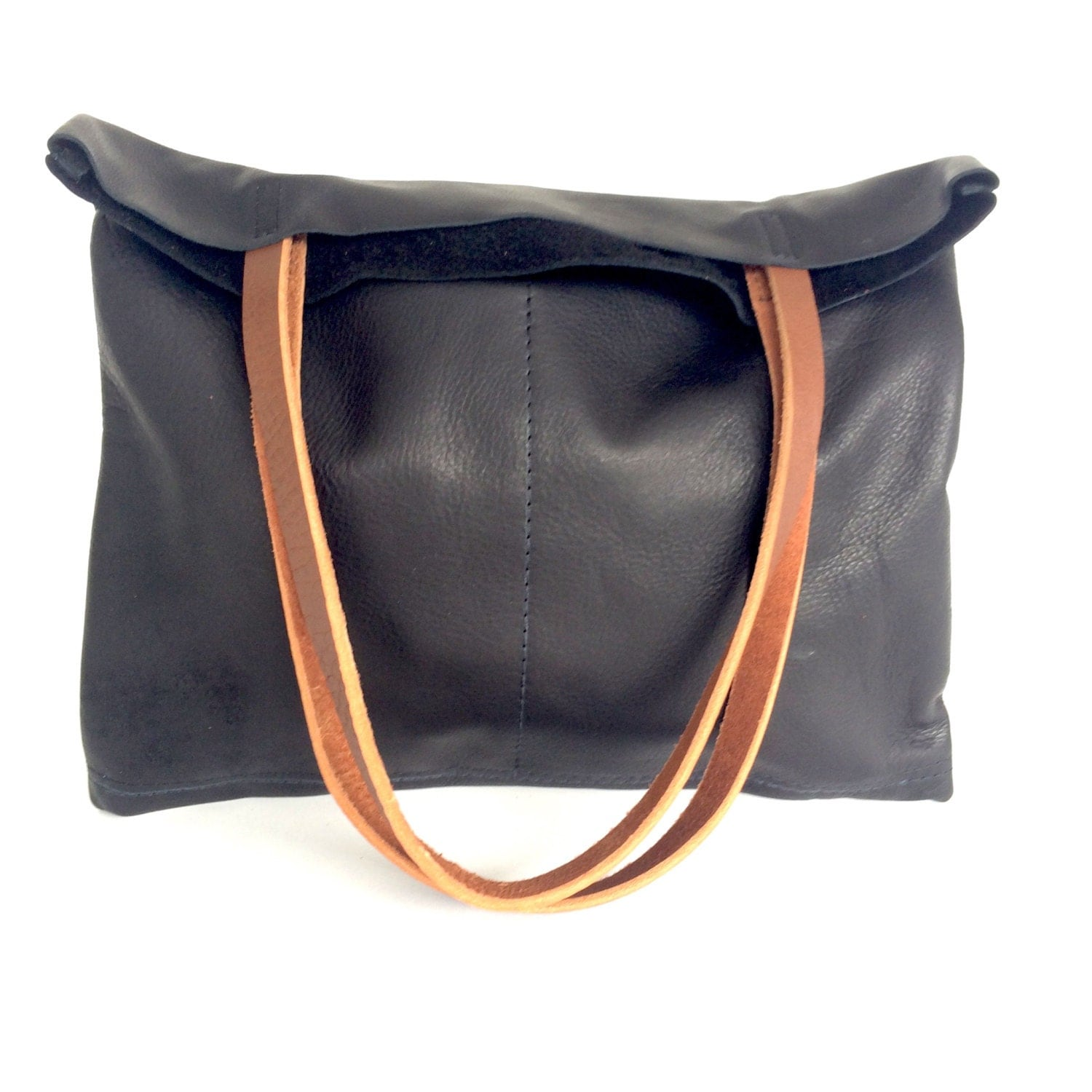 Black and brown Leather Tote Bag Simple Black Leather Bag