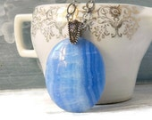 Blue Lace Agate Necklace Sky Blue Pendant Gemstone Quartz Jewelry Agate Jewelry