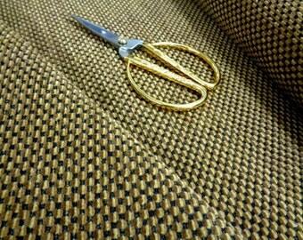 "54"" Wide Plush Vintage Nubby Chenille Upholstery Fabric Mod Retro Black Dark Caramel Brown Beige Home Decor Fabric ST"