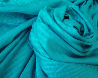 """62"""" Wide Lightweight Drapey Teal Checkered Cotton Rayon Fabric for Dress Home Decor Curtains Draperies Window Treatments Summer Decor LA"""