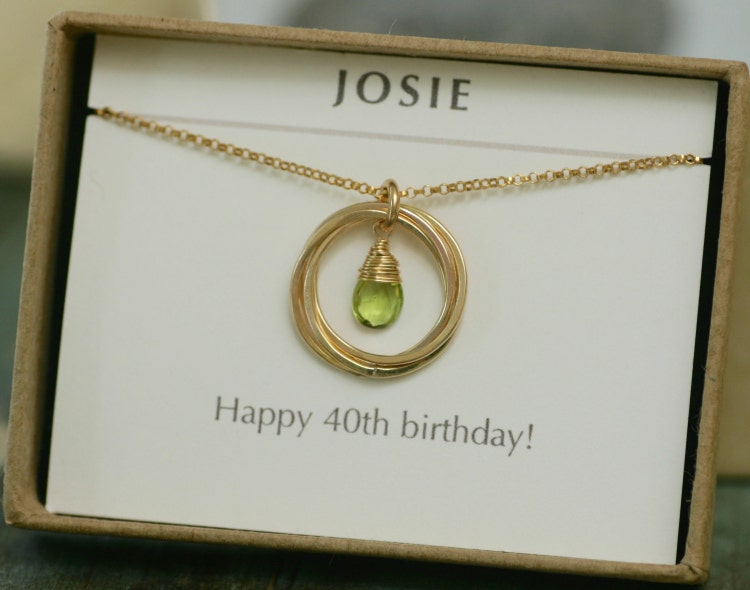 40th Birthday Gifts For Women Peridot Necklace By