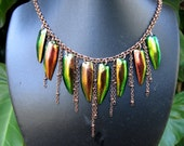 Fringed Fantasy....Beetle Wings and Copper Chain