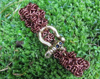 Bronze Chainmaille Skull and Shackle Bracelet