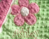 PERSONALIZED minky baby blanket- hot pink and green flower- lovey blanket