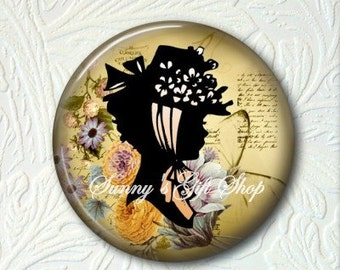 Victorian Floral Girl Silhouette Pocket Mirror, Choose your Favorite from the 4 Prints,  Buy 3 Mirrors Get 1 Mirror Free   520MS