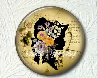 Victorian Floral Girl Silhouette Pocket Mirror, Choose your Favorite from the 4 Prints,  Buy 3 Mirrors Get 1 Mirror Free  521MS