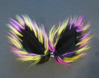 Animal Ears Black Pink Yellow Neon Fur Wolf Fox Cat Costume Cosplay Rave
