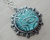 Czech Glass Necklace Glass Pendant Jewelry Anniversary Gift Button Pendant Glass Jewelry Gift for Wife