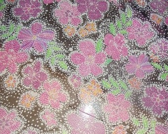 """Floral Print Fabric Polyester 43"""" W x 3 Yd. L Pink Black Green New Infinity Scarf"""