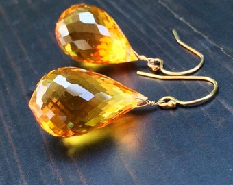 Citrine Stone Earrings.  Statement.  Beautiful Gift