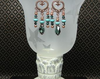 Cowgirl Gypsy Western Style Dangles Drop Earrings / Boho Statement  / HowliteTurquiose Earrings / Copper Chandelier Earrings - FaNCy HeaRTs