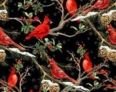 The Cardinal Rule from Wilmington Prints - Full or Half Yard Cardinals on Black Snowy Pine Cones and Branches