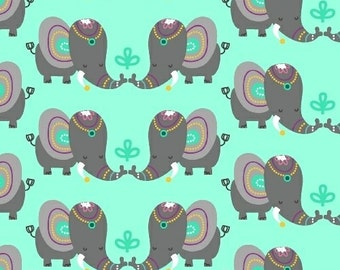 Rumble Elephants from Windham Fabrics - Elephants on Mint Green