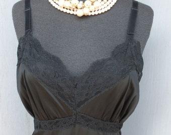 Vintage 1950s/60s Black ADONNA Slip / Black Wiggle Slip w/Lace Hem / 36 bust