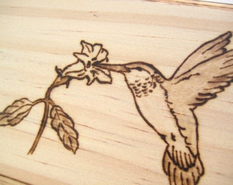 Rustic Engraved Wood Box Small  - Hummingbird and Flower Personalized Jewelry Box Pyrography