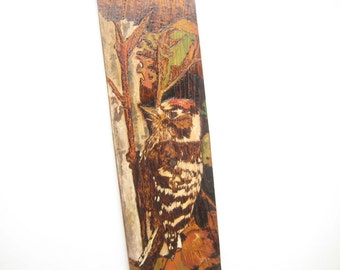 Bird art Bird painting, Woodland art, Cottage decor, Rustic wall decor, Pyrography art, Woodpecker, Sale 50% off, Gift for Home, Barn Wood