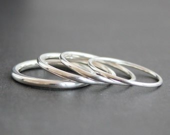 Sterling Silver Round Ring Band - Argentium - 1mm, 1.3mm, 1.6mm, 2mm (Various Widths)