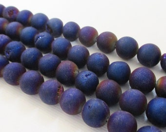 """Druzy Round Beads - Metallic Navy Blue Purple Druzy Agate - Drusy With Coating Matte Beads - 8mm - 7.5"""" - Open Mouth Druzy - Jewelry Making"""