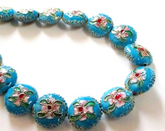 Cloisonne Beads - Blue Coin Floral Cloisonne Beads - Cloisonne Spacer Round - 15mmx7mm - Asian Oriental beads - DIY Jewelry Making - 10 Pcs