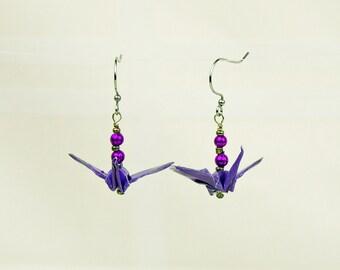Purple Origaimi Peace Crane Earrings Hand-Made eco-friendly, paper gift