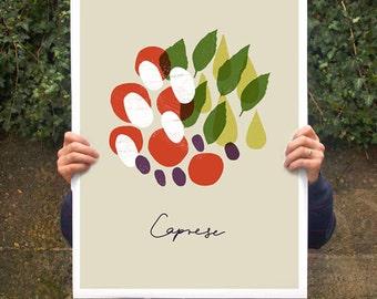 "Caprese beige poster print 20""x27"" - archival fine art giclée print"
