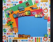 PRESCHOOL FIRST DAY Premade Memory Album Page (Gallery Wood Shadow Box Frame Sold Separately)