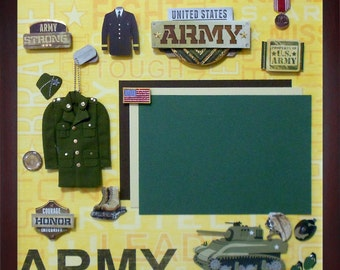 ARMY STRONG Pre-Made Memory Album Page (Gallery Wood Shadow Box Frame Sold Separately)