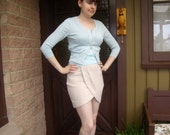 1990's cream flecked wrap miniskirt