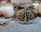Tree of Life Pendant in Bronze, Bronze Tree of Life Necklace, Tree of Life Necklace