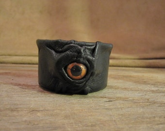 Grichels leather small paper clip/pushpin desk organizer cup - black with copper star eye - change, guitar pick holder