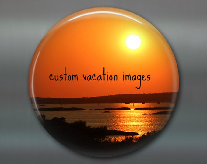"3.5"" vacation custom fridge magnet, personalized gift magnet, photo magnet, souvenir magnet, keepsake, kitchen decor MA-CUSTVAC"