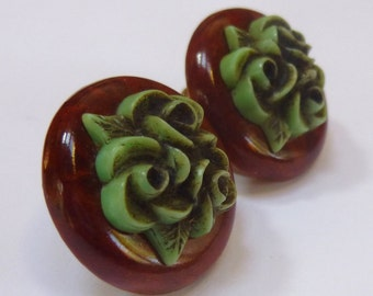 Vintage Celluloid Flowers and Wood Screw Back Earrings