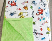 Baby Blanket - Dr. Seuss/Cat in the Hat Cotton and Bright Green Minky Baby Blanket