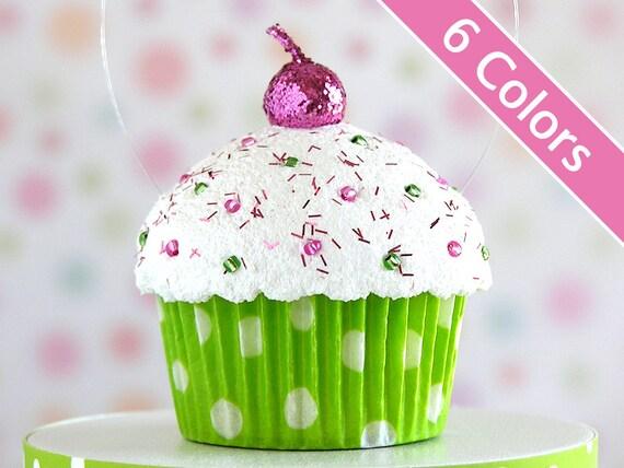 Polka Dot Mini Faux Cupcake Ornaments
