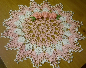crocheted  doily pink  and white  handmade holiday Christmas gifts shabby