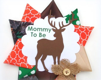 Camo Baby Shower Corsage  - Orange Camouflage Deer Hunting Theme Mommy To Be Mum Pin  -  Ready To Ship