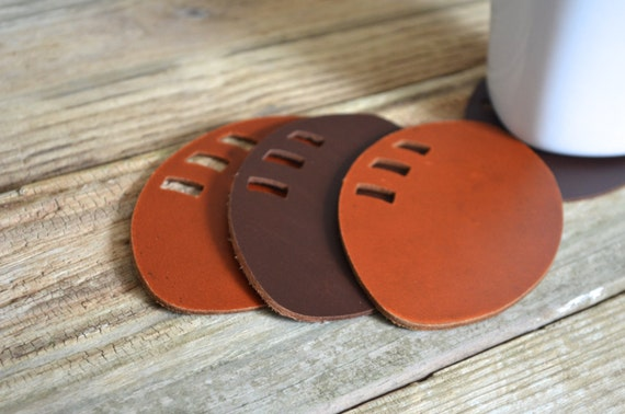 Leather Football Coasters - set of 4 touchdown worthy handmade coasters. Choose from Black, Chocolate Brown or Caramel Brown!