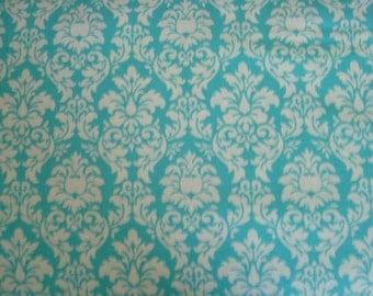 Aqua Petite Dandy Damask Fabric by Michael Miller - 1 1/2 Yard