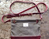 Cross Body Bag in OliveWaxed Canvas & Cordovan Horween Leather