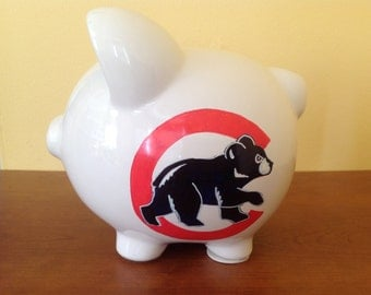 Personalized Large piggy Bank CHICAGO CUBS , Newborn, Baby Shower, Ring Bearer,  Christening Gift