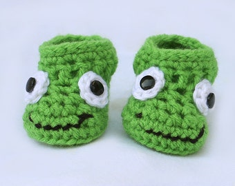 Frog Baby Booties - Froggy Shoes - Baby Booties - Newborn baby gift - Baby Frog Booties - Frog Shoes - Crochet Booties - Crochet Frog Shoes