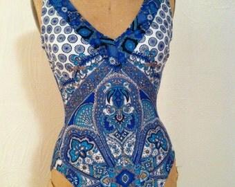 Blue Graceful Mediterranean Print Vintage GOTTEX One-Piece Swimsuit 8