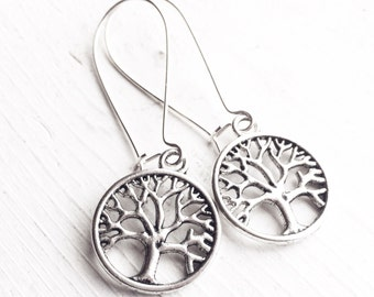 Tree of Life Earrings / Bridesmaids Gifts Wedding Bridal Party Shower Favors Rustic Country Silver Boho Tree Lover Long Dangly Earrings